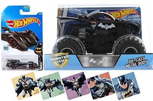 Batman Truck Pack Monster Jam Hot Wheels 1:24 Comic Car Collection Batmobile 1:64 Scale & Bonus Stickers