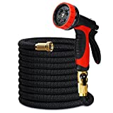 EZfull 50ft Water Hose Expandable Garden Hose with 10 Function Spray Nozzle, 3/4