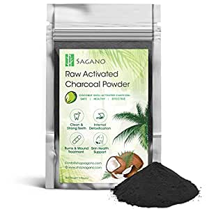 Activated Charcoal Powder 1LB by Sagano - Food Grade Organic Coconut Charcoal Toothpaste, Natural Teeth Whitening Solution, Body Detox, Skin Cleanser, DIY Peel Off Mask, Blackead Remover. 9-12 Months