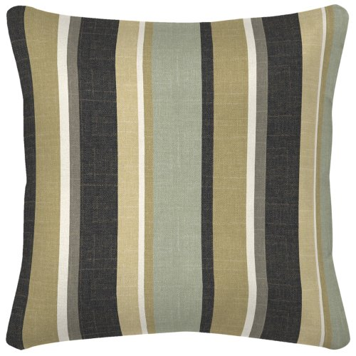 Arden Companies Strathwood Spun Polyester Pillow, 14 by 14-Inch, Mila Stripe Ebony, Set of 2 (Strathwood Outdoor Furniture)
