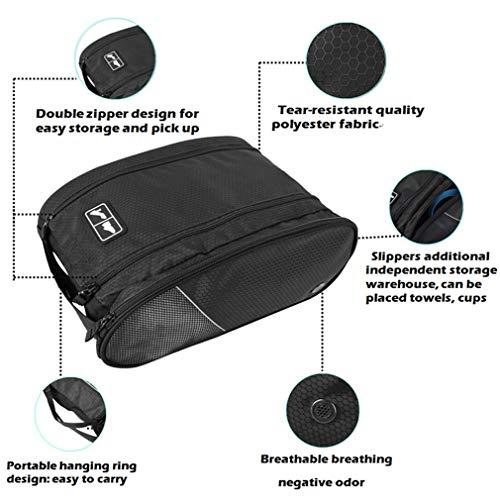Golf Shoe Bag Travel Sport Gym Yoqa Sock Organizer Odor Resistant Large Zipper Space Shoe's Bag for Men and Women (Black) by skyvlv (Image #4)