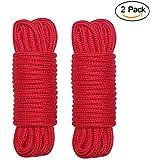 柔らかい綿ロープ、2m²の関心のあるロープの手と足の拘束ベルト32フィート10mロングパック2個,赤