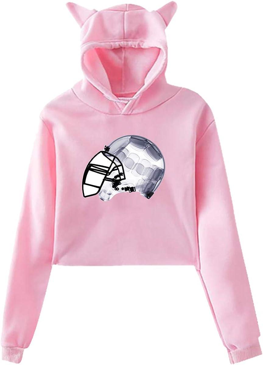 Pink Women Cat Ear Sweater Hoodies Helmet Football Women Long Sleeve Sweatshirts Thin Tops Blouse for Lady