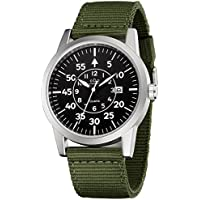 Men's Rugged Special Forces Style Tactical Watch with Green Nylon Band Calendar Date for Outdoor Field