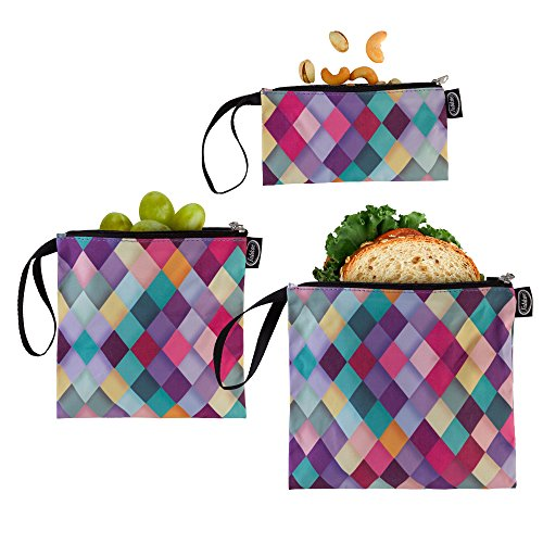Tabkoe Reusable Snack Bags with Handles – XL, Large & Small Zippered Lunch Baggies for Sandwiches, Meal Prep & More – Resealable, Washable, Eco-Friendly, 3pc Zip Up Pouch (Diamond Colorful)