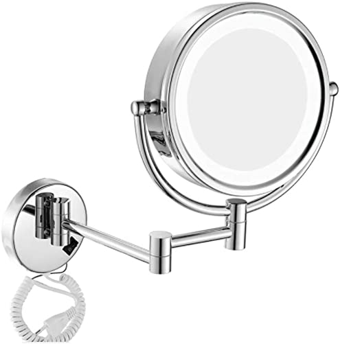 Makeup mirror Double-Sided Folding Wall Mirror 8 Inch 10 Times Magnification 360 Degree Rotating Mirror Home Hotel Wall-Mounted Mirror