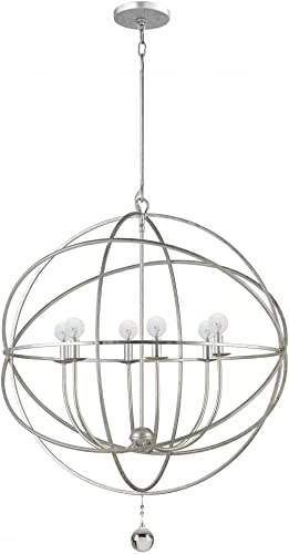 Crystorama 9228-OS Transitional Six Light Chandeliers from Solaris collection in Pwt, Nckl, B S, Slvr.finish,