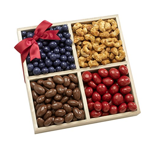 Broadway Basketeers Gourmet Chocolate, Sweets and Nuts Gift Basket Tray - Exceptional Gifts