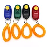 Raogoodcx Pet Training Clicker Button Clicker with Wrist Strap, Train Dog, Cat, Horse, Pets for Clicker training(4pack