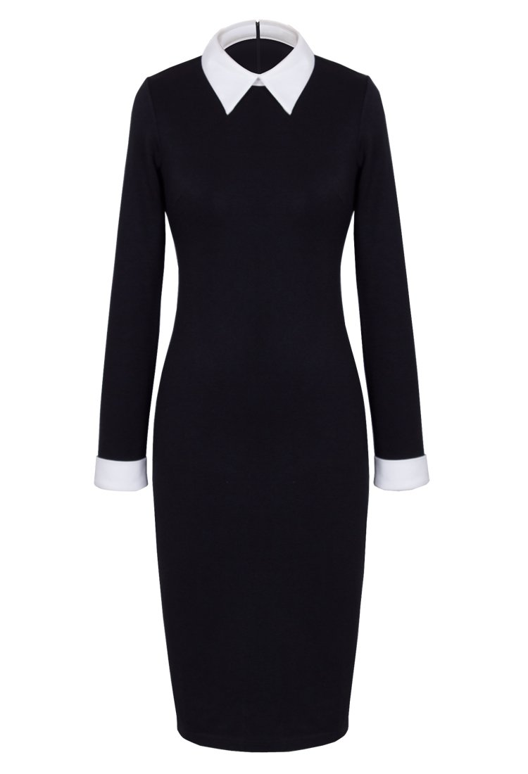 HOMEYEE Women's Celebrity Turn Down Collar Business Bodycon Dresses (M, Black)