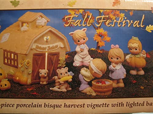 Fall Festival Precious Moments 7 Piece Set Porcelain Bisque Harvest Vignette with Lighted Barn