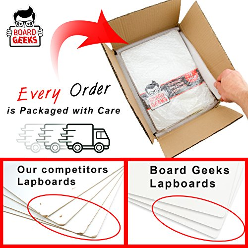 Dry Erase Lapboards   9 x 12 inch Large Whiteboard   Pack of 25 White Board Set   Great for Teachers, Students, Children, Classroom   Reusable, Durable, Portable, Single Sided Whiteboard (25 Pack) by Board Geeks (Image #4)'