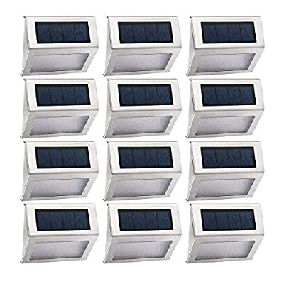 Easternstar Outdoor Solar Gutter Lights White 3 LED Solar Powered Waterproof Security Lamp for Eaves Driveway Garden Fence Roof (8 Pack)