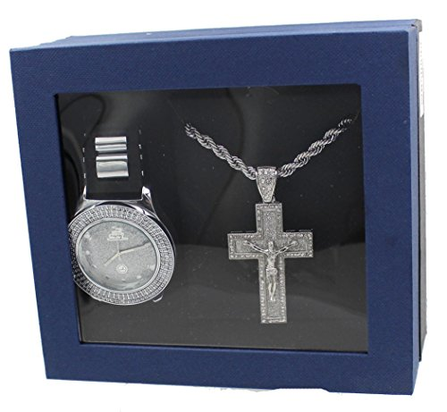Techno Pave Fashion Jewelry GIFT Set:Silver Tone Watch +Silver Tone Necklace+ Silver Tone Pendant (Watch Pendant Set Silver)