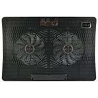 Neon Laptop adjustable height Cooling Pad B8 with 2 Fans & Blue LED Lights (Black)
