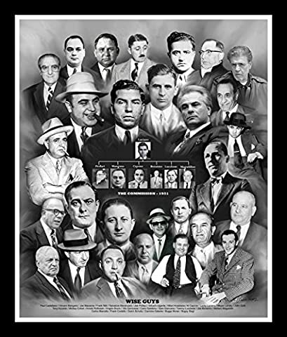 Wise Guys (La Cosa Nostra) by Wishum Gregory, 10x8 inches, Black Frame (Meyer Lansky Poster)