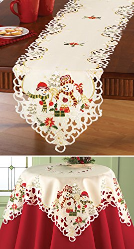 Snowman Couple Christmas Table Linens Square Buy Online