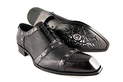 Jo Ghost 2670 mens black leather with perforations and metal square studs lace up shoe, Size 40