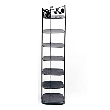 Tall Narrow Shoe Rack.Amazon Com Xyfl Tall Narrow Shoe Rack Metal Black Storage