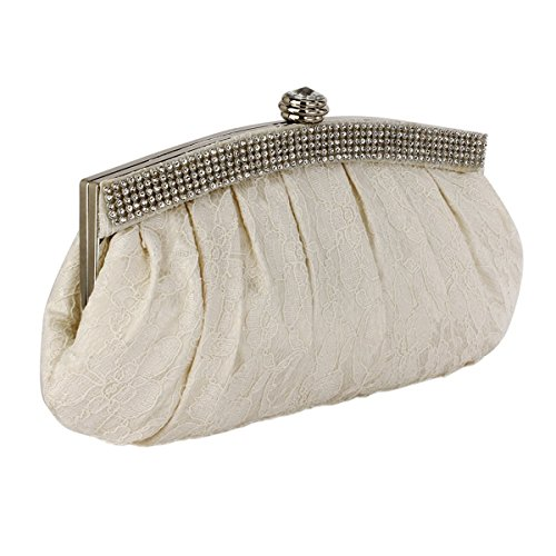 Design Satin Bridal Lace Crystal Ivory Prom Evening Wedding Bags Purse Party Diamante Trim Clutch Bag Handbag Foral fqW51zdq