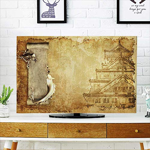 Console Parchment (PRUNUS Cover for Wall Mount tv Grunge Background with Dragons and Scrolls of Old Parchment Cover Mount tv W20 x H40 INCH/TV 40