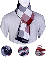 ChunCui Men's Long Thick Soft Warm Knit Cotton Cashmere Feel Scarves for Winter Spring Un