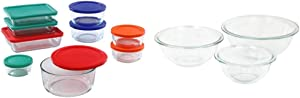 Pyrex Simply Store Meal Prep Glass Food Storage Containers (18-Piece Set, BPA Free Lids, Oven Safe),Multicolored & Glass Mixing Bowl Set (3-Piece Set, Nesting, Microwave and Dishwasher Safe)