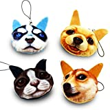 Popculta 4Pcs Cute Soft Plush Keychain Cat and Dog Style (Pack of 4)