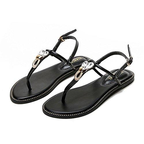 ShangYi Summer T-buckle with Roman shoes versatile large size women's shoes Sandals clip-toe women's flat style with flat shoes Black