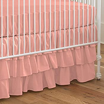 Image of Carousel Designs Solid Light Coral Crib Skirt Three Tier 18-Inch Length