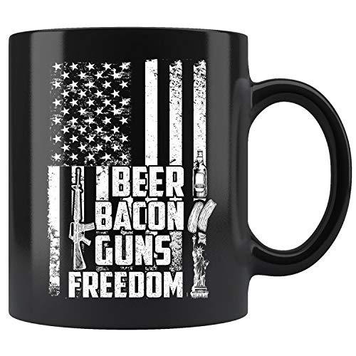 Beer Bacon Guns And Freedom Mug, Patriot American Flag Coffee Mug 11oz Gift Tea Cups 11oz ()