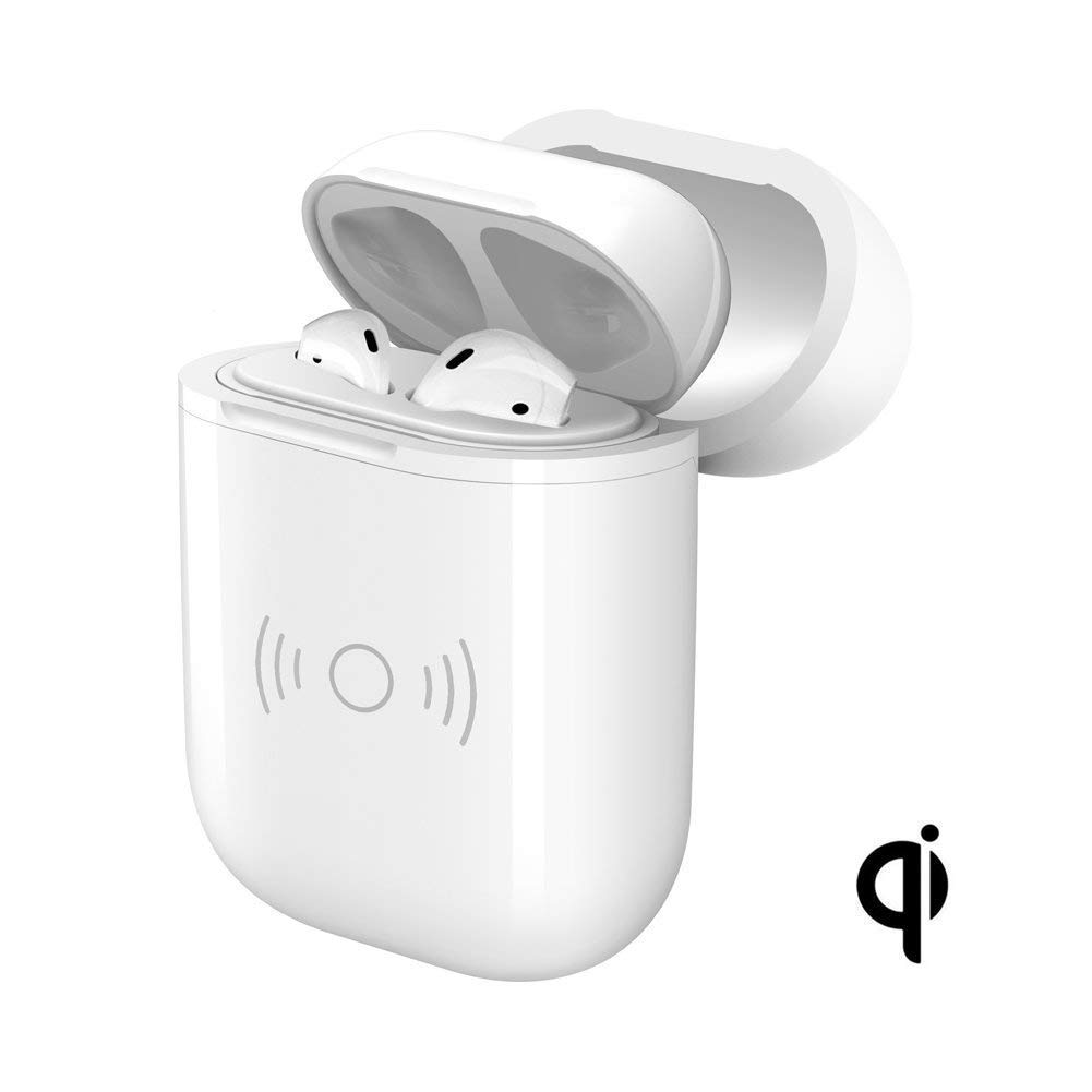 AirPods Wireless Charging Case, Twinkk Qi Wireless Charging Receiver Case Protective Cover Fits Air-Pods Compatible with All Qi Standard Wireless Charger (White)