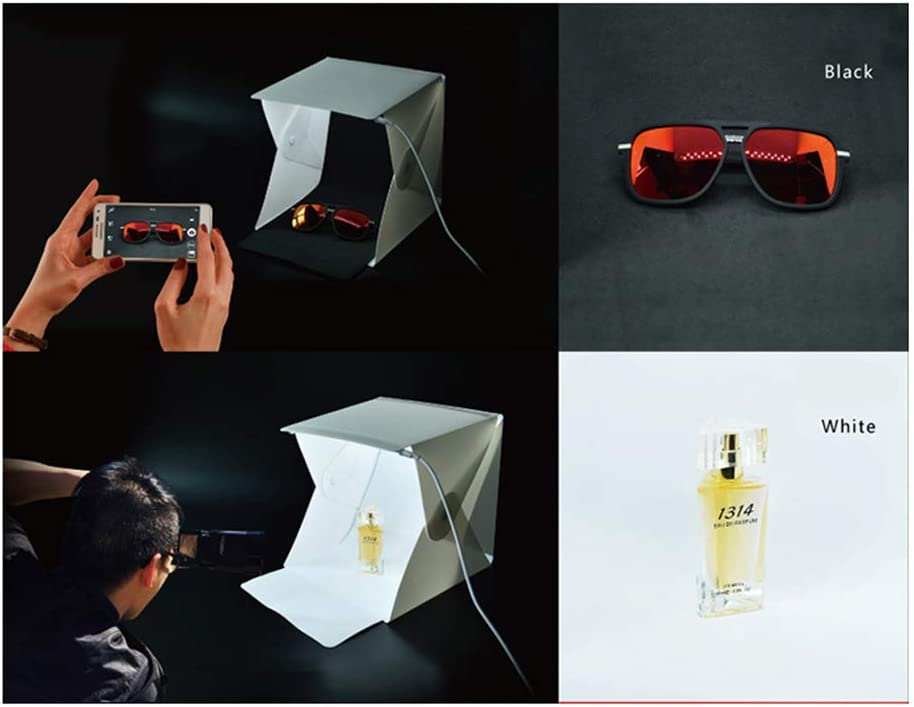 SHENXIAOMING Portable Light Tent 20X20X20cm Photo Light Box Studio Shooting Tent with 2 Background Papers for Photography