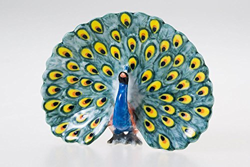 (WitnyStore Miniature Peacock Ceramic Handcraft Figurine Bird Painted Decor Vintage Art Gift VTG ...)