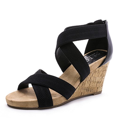 Image of TOETOS Women's Solsoft Low Platform Wedges Back Zipper Sandals