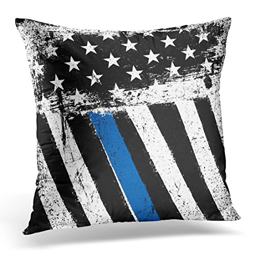 Police Throw - TOMKEYS Throw Pillow Cover Black Police American Flag with Thin Blue Line Grunge Patriotic Honor Monochrome Decorative Pillow Case Home Decor Square 18x18 Inches Pillowcase