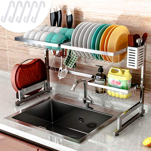 Cabina home Dish Drying Rack Over the Sink Stainless Steel Large Dish Rack Stand Drainer for Kitchen Supplies Counter Top Storage Shelf Utensils Holder, Silver, For Single Sink