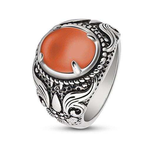 OBSEDE Natural Gem Stone Ring Red Cat's Eye Solitaire Ring for Women Size 9 (Gemstone Cat Ring)