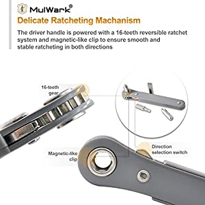 "MulWark 11pc 1/4"" Mini Ratchet Wrench Screwdriver Set with High Torque & Low Profile - Right Angle EDC Tool with 90 Degree Mini Offset Reversible Drive Handle & Multi Hex Bits Set"