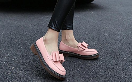 Womens Bow Tie Shoes Casual Leather Ankle Flat Shoes By JiYe Pink tZbZ5K