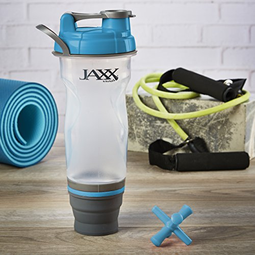 Fit & Fresh Jaxx Collapsible Shaker Cup/Bottle with Leak-Proof Lid and Expandable Storage Compartment for Protein and Supplements, 28 oz, Blue Fits 24 Oz Bottle