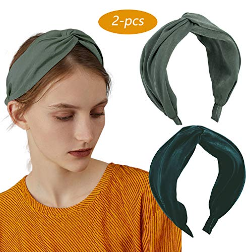 2 Pack Knot Headband Wide Print Hairband Fashion Hair Accessories for Women Girls (Type a)