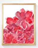 Holiday Flower Print, 8x10, Red Poinsettia, UNFRAMED