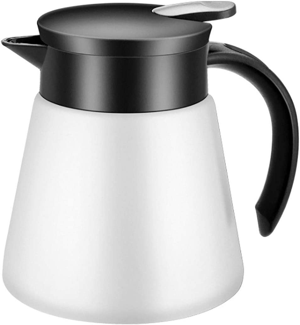 Goeielewe Thermal Coffee Carafe Tea Pot 20 Oz Stainless Steel Insulation Pot Double Wall Vacuum Insulated Coffee Water & Beverage Dispenser (White)