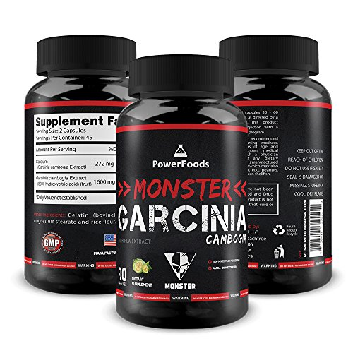 Pure Garcinia Cambogia ★ Monster Garcinia Cambogia x90 capsules (easy to swallow) ★ 1600mg Extract with Calcium and HCA ★ Weight Loss + Stress Management + Energy Boost
