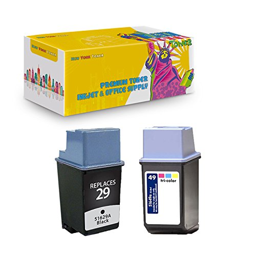 New York TonerTM New Compatible 2 Pack HP 51629 (HP 29) HP 51649 (HP 49) High Yield Inkjet For HP : 380 . -- 1 Black 1 Color