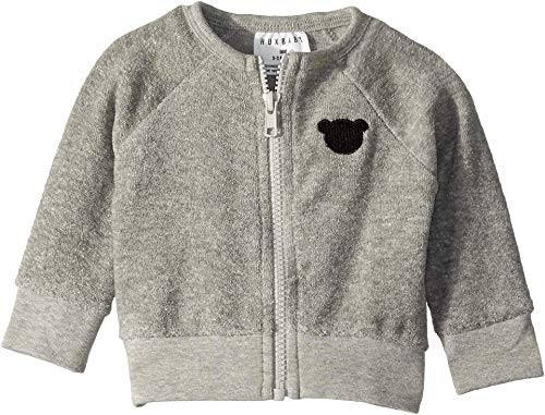 HUXBABY Unisex Terry Sweat Jacket (Infant/Toddler) Grey Marle 3-6 Months