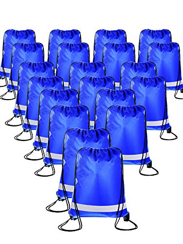 - 20 Pieces Drawstring Backpack Sport Bags Cinch Tote Bags for Traveling and Storage (Reflective Royal Blue, Size 1)