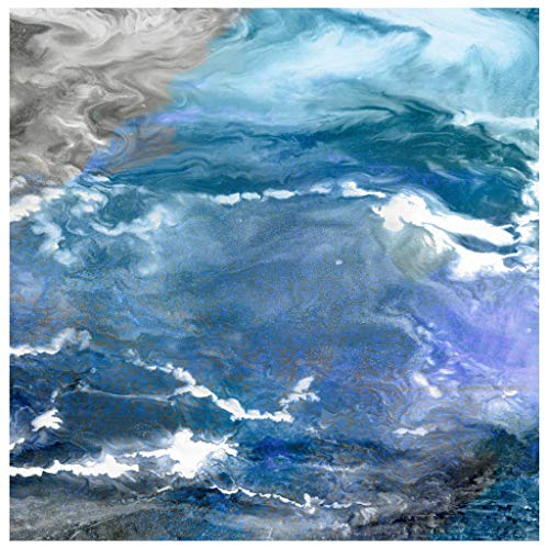 Empire Art Direct Blue Abstract Art,Frameless Tempered Glass Panel,Contemporary Wall Décor Ready to Hang,Living Room,Bedroom & Office, 38 in. x 0.2 in. x 38 in. in,