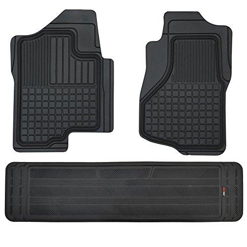 Motor Trend FlexTough Custom Liners Heavy Duty Rubber Floor Mats for Chevrolet Silverado 2007-2014 (3 Piece w/ Liner)